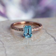Aquamarine Engagement Ring, Diamond Eternity Band In Rose Gold-3722
