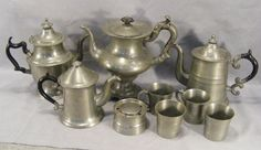 Collection of antique pewter. Inkwell, tea pots