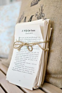 I took pages out of a book and tied with twine ~Storybook Wedding Photography