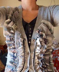 DIY ruffle cardigan