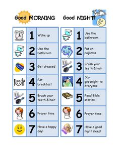 Good Morning & Good Night Chore Chart: designed for a 3 year old / toddler