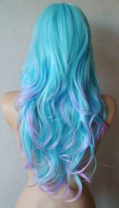 Blue wig. Blue hair with Pink / Purple / Lavender tip by kekeshop