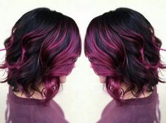 60 Trendy Hair Color Purple Highlights I Love Hair Color Purple, Hair Color And Cut, Haircut And Color, Pink Hair, Hair Colors, Dark Hair Purple Highlights, Dark Purple, Reddish Purple Hair, Violet Hair