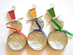 Snowman Christmas Ornaments in Stained Glass by ShatteredbyLight