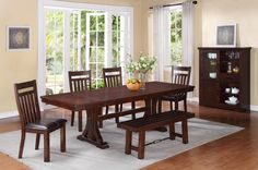 Rio Grande Trestle table and 4 side chairs | HOM Furniture