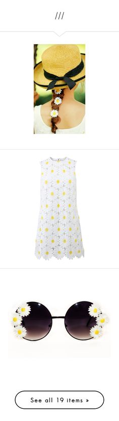 """""""///"""" by berlinmoskva ❤ liked on Polyvore featuring accessories, hair accessories, barrette hair clips, hair clip accessories, daisy hair accessories, daisy hair clips, white hair clips, dresses, shift dress and daisy dress"""
