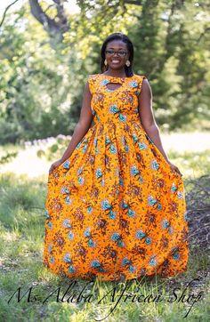 Orange African Ankara Maxi Dress by MsAlabaAfricanShop ~Latest African fashion, Ankara, kitenge, African women dresses, African prints, African men's fashion, Nigerian style, Ghanaian fashion ~DKK