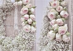 Delicate rose and baby's breath wreath.