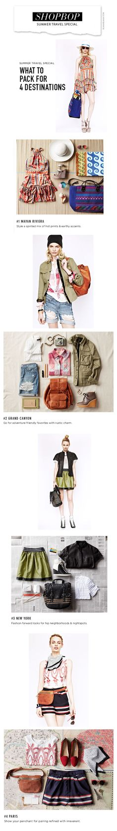 Shopbop  – What to Pack for 4 Destinations