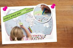 Doodle World Map & Crayons