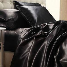 Luxury Black Satin Sheet Set