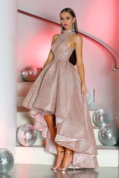 Sparkly Prom Dresses, Cheap Party Dresses, High Low Prom Dresses, Party Gowns, Prom Dress Rose Gold, Rose Gold Dresses Short, Dress Party, High Low Gown, Teen Dresses