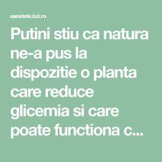Putini stiu ca natura ne-a pus la dispozitie o planta care reduce glicemia si care poate functiona cel putin la fel de bine ca medicamentele antidiabetice. Sunt sanse mari c