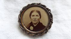 Antique Photo Pin Brooch Victorian Woman by TallulahsVintage