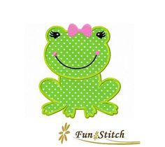 Girly frog applique machine embroidery design by FunStitch on Etsy, $4.00