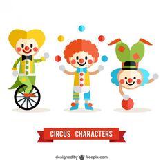 Pack de payasos de circo Vector Gratis