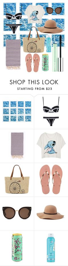 """""""we're so far to be pefect bby"""" by cottoncandysyrup ❤ liked on Polyvore featuring William Stafford, Turkish-T, Straw Studios, Havaianas, STELLA McCARTNEY, Scala, COOLA Suncare and Clinique"""