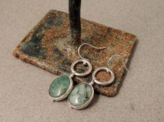 Sterling Silver Earrings, Bezel Set Gemstones, Silver Encased Quartz, Silver Rings, Artisan Handmade Jewelry, Chrysocolla Quartz, Blue Green...