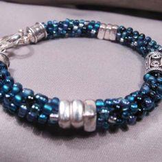 Blue Sparkles handmade unique jewelry Kumihimo beaded bracelet by E...... | EmaKDesigns - Jewelry on ArtFire