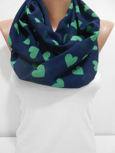 ON SALE Heart Infinity Scarf, Valentines Day Scarf, Heart Loop Scarf Circle Scarf, Lightweight Chiffon Scarf, Gift Ideas, For Her, ScarfClub