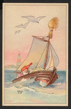 Nisse i sejlbåd 1940 Danmark Postkort Brugt m mærke