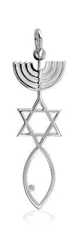 """Messianic Seal charm. Perfect size for a woman or child. 1 3/8"""" tall with loop, about 1/16"""" thick. High polished to a mirror shine. Designed and made by Sziro Jewelry, where high quality materials and craftsmanship go into each piece. Quantity discounts available for resale."""