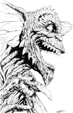 Gremlins, Horror Comics, Horror Art, Animal Drawings, Pencil Drawings, Coloring Sheets, Coloring Pages, Black And White Illustration, Skull Tattoos