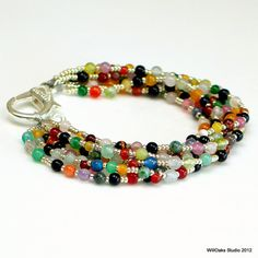 Bold Statement Bracelet Colorful Stone Beaded by WillOaksStudio, $45.00