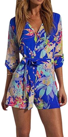 9c5f34fa3e8c Blue Floral Printed Surplice Belted Wrap New Romper Jumpsuit
