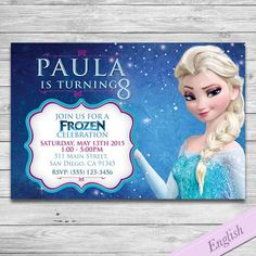 Frozen Party Invitation - Elsa & Anna Custom Printable Invite - Frozen Disney by DsInvitations on Etsy