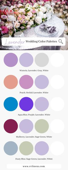 The ultimate color scheme guide for lavender wedding themes for spring weddings, summer weddings, and winter weddings! Click to shop our collection of lavender wedding linens and decorations. Lavender wedding ideas for color palettes and color combinations perfect for spring wedding ideas and spring wedding decorations. Lavender wedding decorations with the perfect color combinations for your wedding day and other special event decorations! #lavenderwedding #lavenderweddingtheme #springwedding Lavender Color Scheme, Purple Color Schemes, Wedding Color Schemes, Color Combinations, Lavender Wedding Decorations, Lavender Wedding Colors, Summer Wedding Colors, Spring Wedding Themes, Spring Weddings