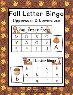 Practice uppercase and lowercase letter recognition with Fall Letter Bingo $2.00