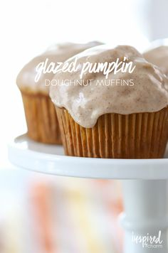 Glazed Pumpkin Doughnut Muffins from inspiredbycharm.com