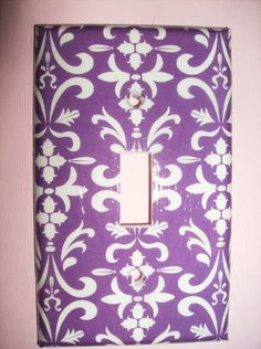 Purple and White Damask Single Light Switch by COUTURELIGHTPLATES, $4.95
