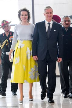 Queen Mathilde was accompanied by her husband King Philippe at the event...