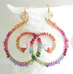 Rainbow Gemstone Gold Filled Nautilus Earrings por bellajewelsII