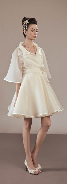 Elegant organza full skirt trench coat 50's inspired, unique bridal cover up, perfect for a retro wedding