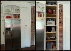Above fridge storage, pantry storage, microwave in pantry, tall narrow pantry, built-in fridge