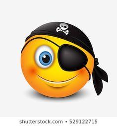 Cute pirate smiley wearing black pirate scarf and eye patch - emoticon, emoji - vector illustration Happy Emoticon, Emoticon Emoji, Kiss Emoji, Emoticon Faces, Funny Emoji Faces, Funny Emoticons, Smiley Emoji, Smileys, Images Emoji