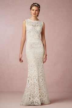 Intricate, lacy BHLDN wedding gown