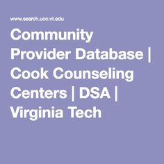 Community Provider Database | Cook Counseling Centers | DSA | Virginia Tech