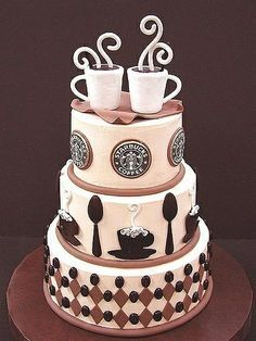 Okay, obviously a Starbucks cake is a bit much. but EVERYONE loves coffee cake! That would be such a good wedding cake for breakfast! Gorgeous Cakes, Pretty Cakes, Cute Cakes, Amazing Cakes, Amazing Art, Crazy Cakes, Fancy Cakes, Pink Cakes, Unique Cakes