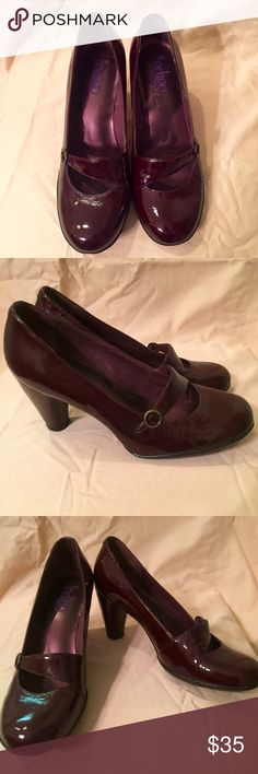 Indigo by Clarks Heels Comfortable and fashionable! The style says work and the burgundy patent leather screams fun! Worn once. Clarks Shoes Heels