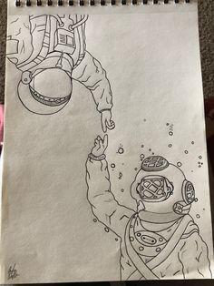Sharpie Drawings, Dark Art Drawings, Art Drawings Sketches Simple, Pencil Art Drawings, Astronaut Drawing, Drawings Pinterest, Colored Pencil Artwork, Bullet Journal Art, Art Challenge