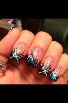 Black and blue nails Fabulous Nails, Gorgeous Nails, Pretty Nails, Cute Nail Designs, Acrylic Nail Designs, Acrylic Nails, Acrylics, Crazy Nails, Fancy Nails