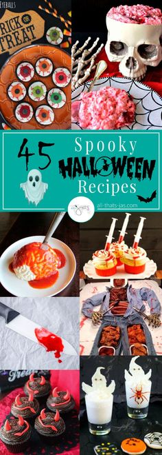 45 Spooky Halloween Recipes & Party Ideas Spooky Halloween food ideas to creep out your party guests. These 45 genius but simple Halloween recipes for appetizers, snacks, dinners, and desserts are guaranteed to give your guests the spooks. Halloween Tags, Halloween 2018, Creepy Halloween Food, Halloween Dinner, Halloween Food For Party, Halloween Desserts, Halloween Appetizers For Adults, Creepy Food, Halloween Buffet