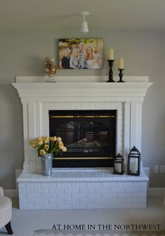 BRICK FIREPLACE AFTER. I really want to ad this crown molding to ours. It's so big that I think this is the only thing that will do it justice