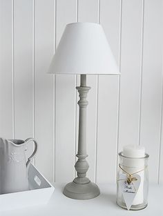 Grey And White Table Lamp Bedside Lamps