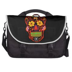Scary Sugar Skull Laptop Bags This fun & festive commuter laptop bag features a black skull with a orange outline and with yellow flower eye's. It has colorful flowers around the head. And has lime green teeth. This is from the Day of the Dead also know as Dia de los Muertos sugar skulls on a png file. So you can change the background color by click the Customize button. More cool stuff at. http://www.zazzle.com/mythstical?rf=238058086535788913&tc=...