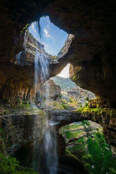 This place is BEYOND amazing!>>three bridges cave baatara gorge waterfall in Lebanon